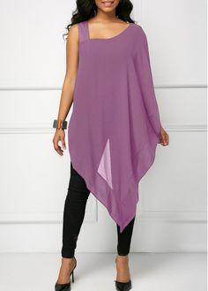 Navy Blue Asymmetric Hem Overlay Blouse Pick this popularasymmtric hem blouse,add something new to your wardrobe. Stylish Tops For Girls, Trendy Tops For Women, Navy Blue Blouse, Black Blouse, Fashion Mode, Fashion Outfits, Womens Fashion, Fashion Blouses, Blouse Styles