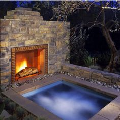Fireplace by the hot tub!