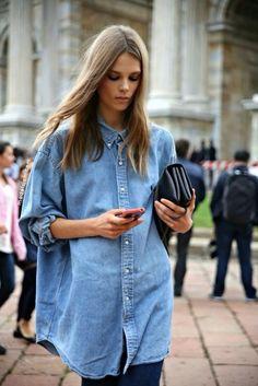 Ralph Lauren Oversize Denim Shirt // Valentino Va Va Voom Bag