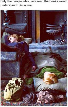 Ron and Hermione <3 (if you've read the books you would know that when Harry saw this he realized they had fallen asleep holding hands and that made him feel a little lonely)