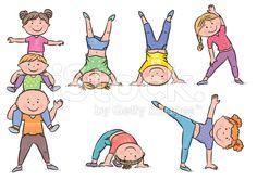 Kids aerobics royalty-free stock vector art