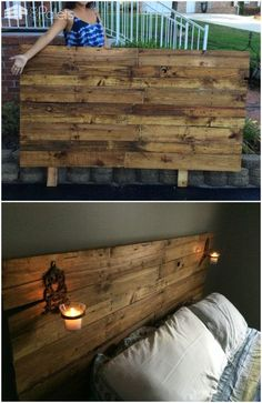#Bedroom, #Headboard, #PalletHeadboard, #RecyclingWoodPallets Update your boring bedroom and add a personal touch with this lovelyQueen-Sized Pallet Headboard and don't spend a single penny! Queen-Sized Pallet Headboard: To begin, we cut a piece of plywood as the backing and used two pallet stringers as