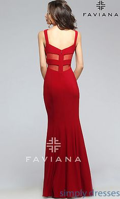 Shop Faviana prom dresses with sheer-mesh cut-outs at Simply Dresses. Ball gowns and and evening gowns for special occasions.