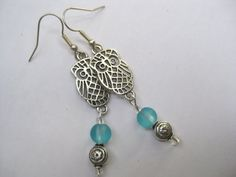 Lovely OWL EARRINGS   Silver Tone  Blue Glass by FerryCreekVintage, $25.00