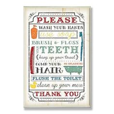 Shop for Wash Your Hands Typography Wall Plaque. Free Shipping on orders over $45 at Overstock.com - Your Online Art Gallery Store! Get 5% in rewards with Club O!