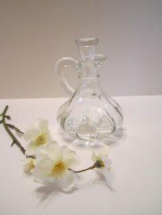 Vintage Vinaigrette Cruet Bottle - Oil and Vinegar Cruet Bottle - Clear Glass Bottle with Glass Stopper - Anchor Hocking Glass by VKVDesigns on Etsy