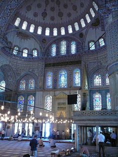 Interior of the Blue Mosque, Instanbul, Turkey