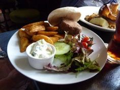 Veggie burger and chips from Prince George, Brighton