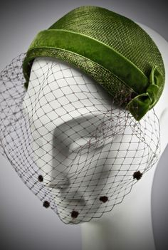 50's style hat with green velvet ribbon and veiling- Dorothy Morant Millinery 2016