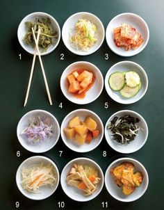 Korean Banchan 101. Served in small bowls filled with healthy foods like carrots, zucchini, cabbage, cucumber, turnip, etc.