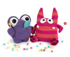 YumYum by Dendennis and Zak the Candy Monster by The Itsy Bitsy Spider in 'Amigurumi Monsters' book // Dim the lights, bring out your flashlight and quickly check underneath your bed: this new book will reveal the most adorable amigurumi monsters!