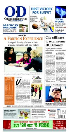 The front page for Saturday, Dec. 8, 2012: Refugee's first day of school in Utica a unique encounter with new culture