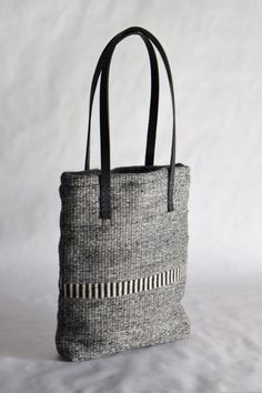 Hand woven black and white striped tote bag black by HayleyFJames