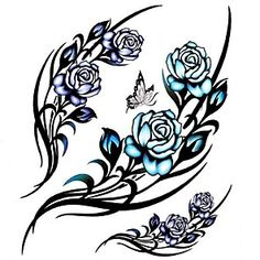 1PC Large Big Temporary Tattoos Rose Butterfly Pattern Wedding Party Tattoos…