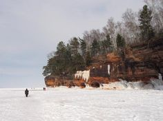 A popular Bayfield, Wisconsin winter attraction is touring the Lake Superior Bayfield Ice Caves of the Bayfield Peninsula. In the spring, summer and fall we've taken the hiking trail from the Apostle Islands Meyers Beach parking lot to the top of the caves and have caught some impressive views of the caves.