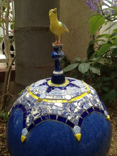 Bird on Ball Mosaic Mosaic Stepping Stones, Pebble Mosaic, Mosaic Wall, Mosaic Glass, Stained Glass, Mosaic Bowling Ball, Bowling Ball Art, Mosaic Garden Art, Mosaic Flower Pots
