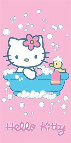 Hello Kitty in the bathtub with a rubber ducky