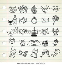 set of #simple #valentine #icon in doodle style - stock vector  #design #graphic #vector #illustration #doodle #sketch #element