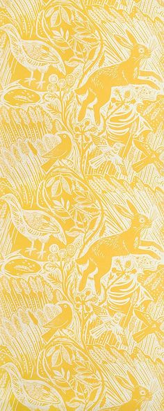 Harvest Hare Wallpaper Excellent lino print wallpaper with Mark Hearld rabbit and bird design in Corn Yellow.