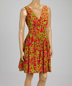 Loving this Magenta & Lime Abstract Empire-Waist Dress on #zulily! #zulilyfinds