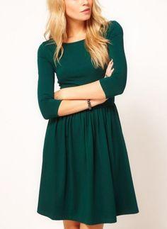 Green Three Quarter Length Sleeve Gathered Pleats Dress