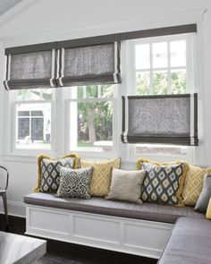 Fabric Roman shades, top down/bottom up