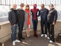 Emma Stone Matt Tolmach, Dane DeHaan, Emma Stone, Spiderman, Jamie Foxx, and Avi Arad   visits The Empire State Building on April 25, 2014 i...