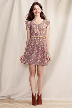 Women's Silk Tie Front Dress from Lands' End Canvas