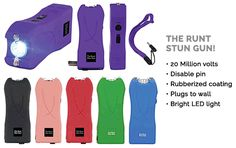 The Runt Stun Guns With 20 Million Volts, Are Now Available In Green And Blue As Well!  The Runt Stun Gun With 20 Million Volts is a powerful self defense weapon with incredible takedown power, bright LED light and unbelievable features!