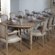formal French inspired dining room with gorgeous limed oak chairs and chandelier, my very favorite dining table/ chairs! Dining Room Table, Table And Chairs, Oak Chairs, Wood Table, Dining Rooms, Home Interior, Interior Design, Dining Room Inspiration, French Furniture