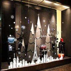2016 - New Year Snowflake Tower and Town Christmas Party Wall Stickers Shop Window Stickers Decorative Glass Door Sticker Decorations (1)