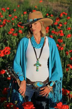 Turquoise!  Jewelry and accessories by Brit West  and shawl by Tasha Polizzi