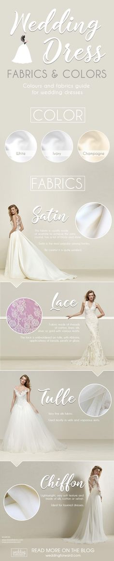 12 Wedding Dress Infographics To Make Your Shopping Easier ❤️ The most useful wedding dress infographics that will help you to make the right choice. Choose the best wedding dress fabric and color. See more: http://www.weddingforward.com/wedding-dress-infographics/ #wedding #dresses #infographics