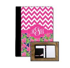 Preppy Flamingo Chevron Monogrammed Padfolio Notebook Notepad Portfolio New Job Gift Employee Gift Custom Office Accessories Personalized by ChicMonogram on Etsy