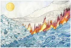 Jill Pelto, an artist and scientist, incorporates graphs of rising sea levels and soaring temperatures in her artwork