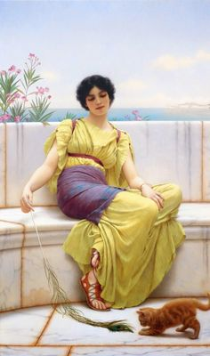 John William Godward (England, ~ John William Godward was an English painter from the end of the Neo-Classicist era. He was a protégé of Sir Lawrence Alma-Tadema, but his style of painting fell out of favour with the arrival of painters such as Picasso. John William Godward, John William Waterhouse, Lawrence Alma Tadema, Classic Paintings, Old Paintings, Beautiful Paintings, Classic Artwork, Frank Dicksee, Dante Gabriel Rossetti