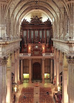 The organ pipes at the far end of the nave at Saint-Sulpice Church