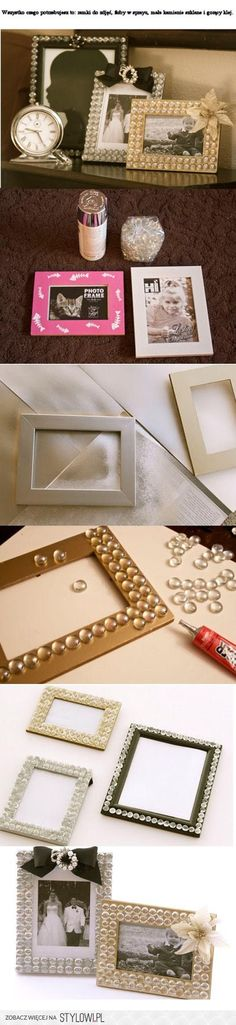 That's a cute idea! Super glue those glass rocks you can buy from the Dollar Tree onto a flat surfaced picture frame, add embellishments.