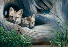 """Learning Patience"" Red FoxImage Size 20"" x 14"" -Animal Paintingsby Susan Labouri"