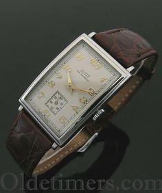 A steel rectangular vintage Tissot watch, 1940s - watches, sport, military, femme, silver, wrist watch *ad