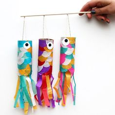 Sunday is Boy's day in Japan, and they celebrate with large carp windsocks flying in their wind. Make your own mini version of koinobori!