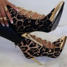 32855edb792eac heels · Sestito Woman Leopard Print Cut-outs Sandals Boots Lady Chains  Embellished Metal Pointed Toe Shoes