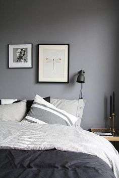 finally … grey or black bedroom. finally … grey or black bedroom. Bedroom Inspo, Home Bedroom, Bedroom Decor, Bedroom Ideas, Wall Decor, Calm Bedroom, Wall Lamps, Bedroom Lighting, Bedroom Designs
