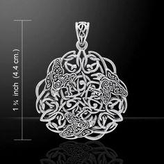 Celtic Raven Pendant .925 Sterling Silver Morrigan Crow Amulet Celtic Triskelion