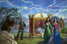 "Palanquin: Sul'dam Renna Emain with Egwene as a damane...cover art for ""New Threads in the Pattern"" by Charles Keegan"