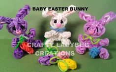 Rainbow Loom BABY EASTER BUNNY CHARM How to Make by Crafty Ladybug (+pla...