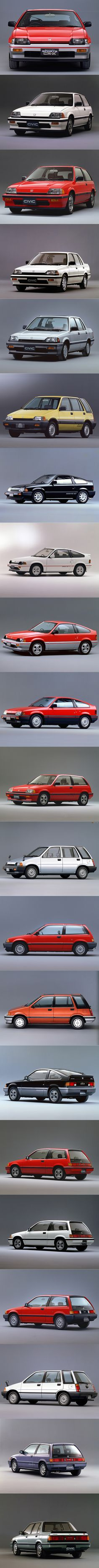 1984 Honda Civic / Ballade Sports CR-X / Shuttle / Si / Japan / red white grey silver yellow black blue