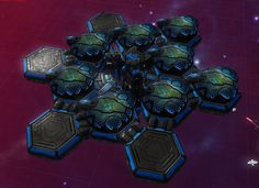 Deep space settlement game spacestation with hexagonal domes