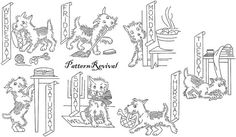 Tea Towel Embroidery 1821 Dog Days of the Week by PatternRevival