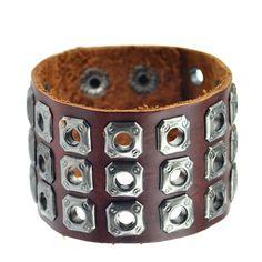New Handmade Genuine Leather Bracelets Brand Fashion Punk Wide Cuff Bracelets & Bangle for Women Men Jewelry Accessory